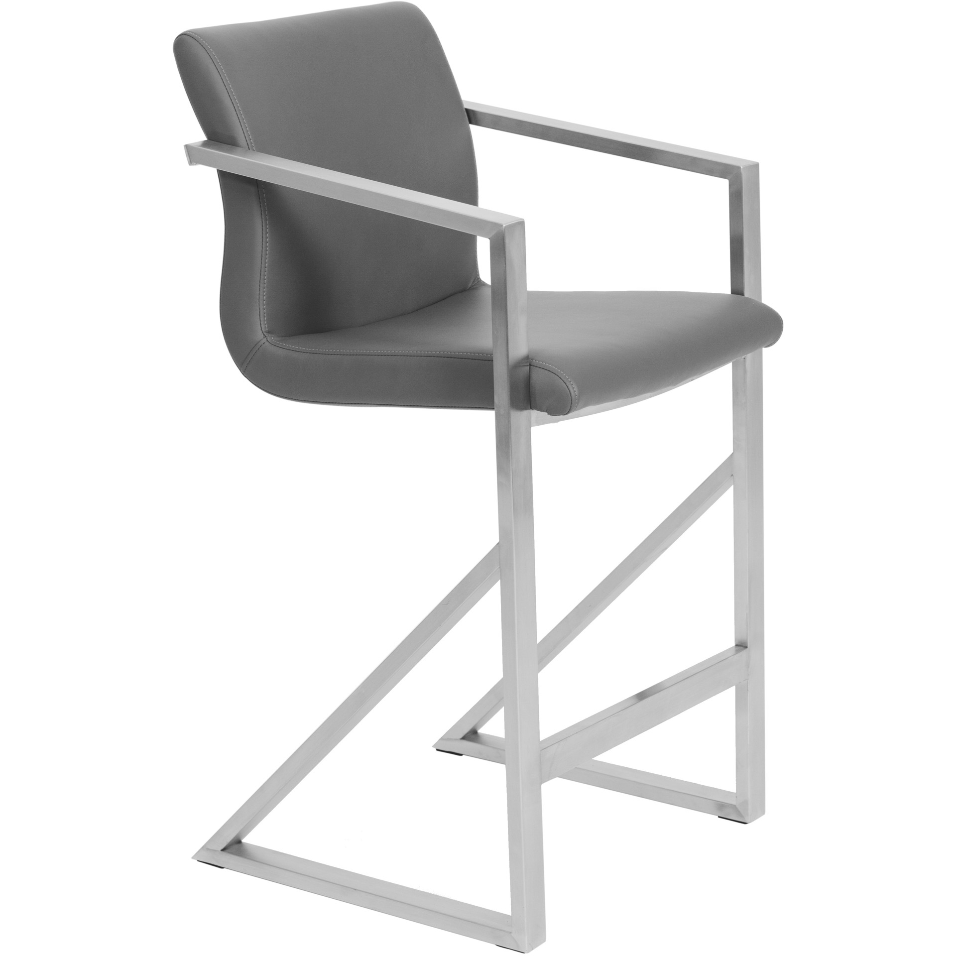 Matrix Imports Kurv Stool With Arms Stainless Finish
