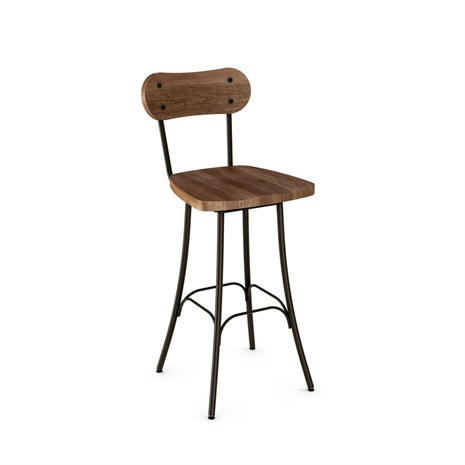 Amisco 41268 Bean Swivel Stool With Wood Seat Amp Back