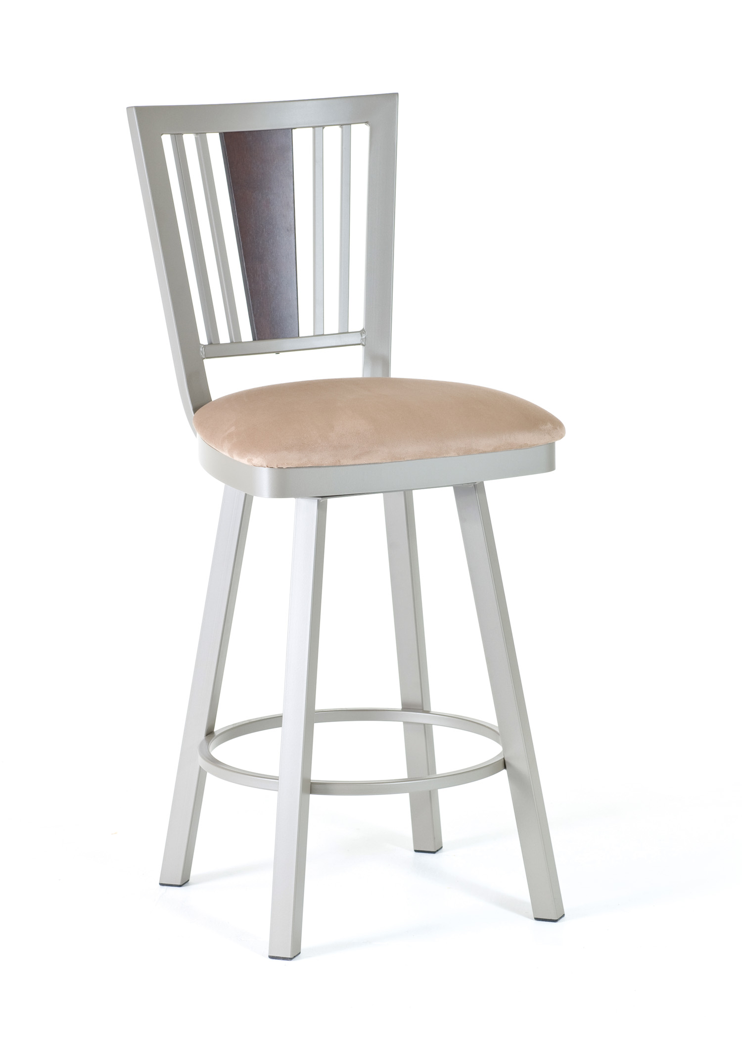 Amisco 41406 Madison Swivel Stool With Wood Backrest