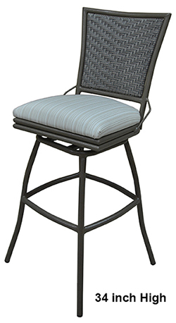 Aluminum 34 Inch Outdoor Erin Bar Stool No Arms Alfa