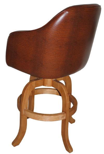 Custom Upholstered Jesse Swivel Arm Stool Wood Base Alfa