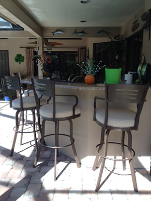 Outdoor 34 Inch Aluminum Bar Stool Extra Tall With Arms
