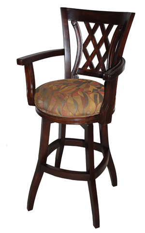 34 Inch Custom Wood Swivel Tango Stool With Arms Alfa