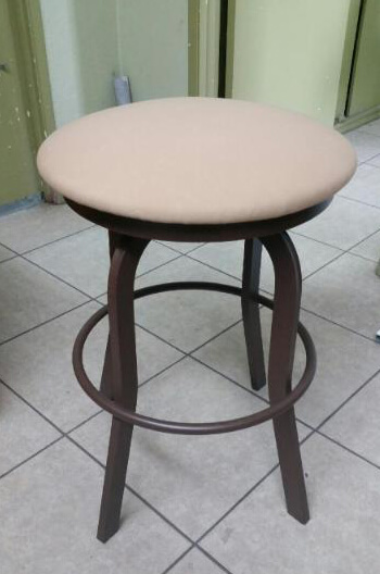 Outdoor 34 Inch Backless Swivel Stool With Padded Seat