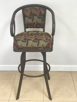 Small Upholstered Back Swivel Bar Stool With Armrest