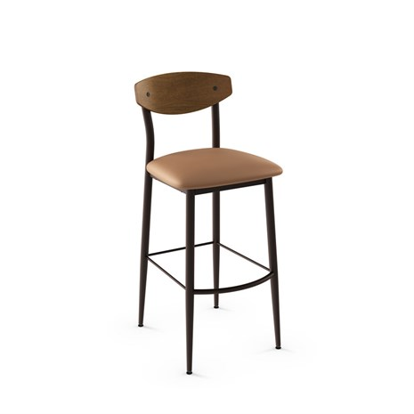 Amisco 40202 Hint Stool Wood Backrest Upholstered Seat