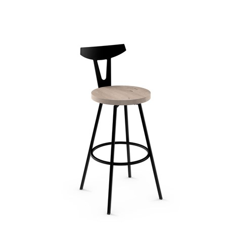 Amisco 41504 Hans Swivel With Distressed Wood Seat Alfa